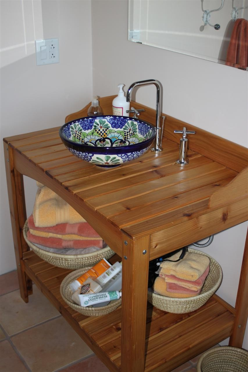 Mexican sinks bathroom - Upstairs Bathroom Cedar Potting Bench Turned Vanity With A Talavera Vessel Sink From Mexico