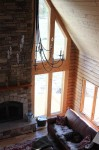 Great Room overview from the loft...custom made wrought iron chandelier from Hubbarton Forge in Vermont