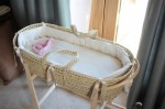 Moses basket in our bedroom