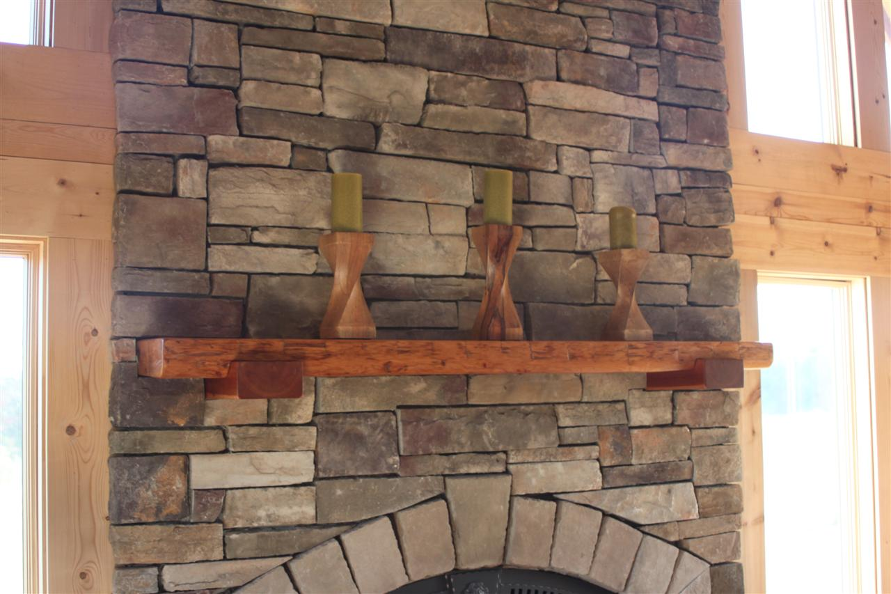 Log Home Progress Fireplace mantle made of reclaimed hemlock wood ...