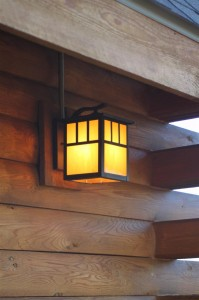 """Outdoor lighting around the house with an """"arts and craft"""" style"""