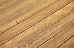 Stained cedar deck boards