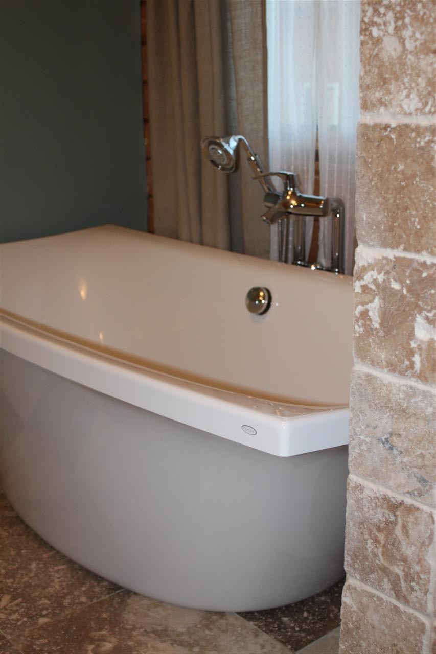 Kohler Escale Line Freestanding Tub And Roman Faucet In Our Master Bathroom
