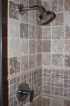 Master Bath shower stall (travertine tile)
