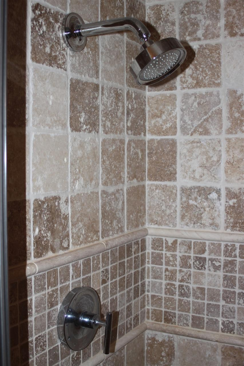 Made With Tile Shower Stalls : Log home progress master bath shower stall travertine