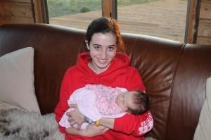 Cousin Dana gets to hold Sophia