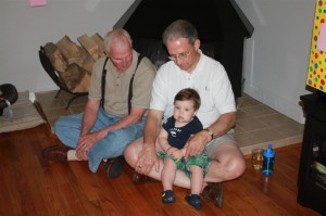 Sammy hangs with both Grandpa's