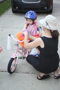 Amelia sports her new bike helmet