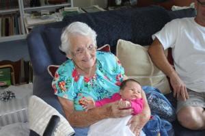Great-Grandma Hensinger holds Sophia the evening before the baptism