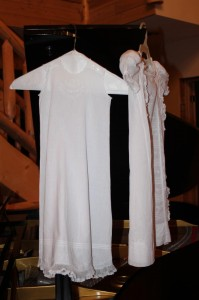 The beautiful handmade heirloom gown and slip made by Sophia's great-great Aunt Ummie