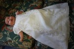 Sophia modeling the baptismal gown