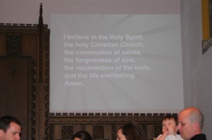 A portion of the Apostle's Creed during the baptism