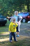 Mady and Nate playing around the campsite