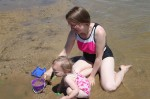 Carrie and Mady playing in the sand