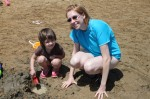 Linda and Lydia making sand castles
