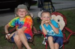 The Hasey boys enjoying their s'mores by the campfire